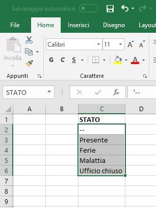 tutorial excel tendina